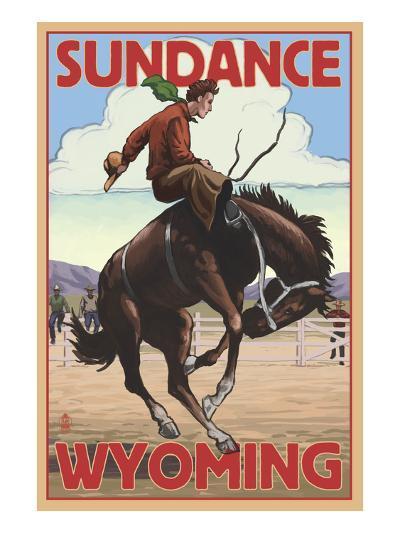 Cowboy and Bronco Scene - Sundance, Wyoming-Lantern Press-Art Print