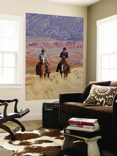 Cowboy and Cowgirl Riding Through Scenic Hills of the Big Horn Mountains, Shell, Wyoming, USA-Joe Restuccia III-Wall Mural