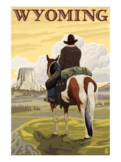 Cowboy and Devil's Tower - Wyoming-Lantern Press-Art Print