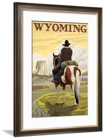 Cowboy and Devil's Tower - Wyoming-Lantern Press-Framed Art Print