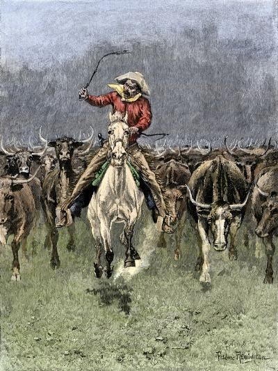 Cowboy and His Horse Caught in a Cattle Stampede, c.1800--Giclee Print