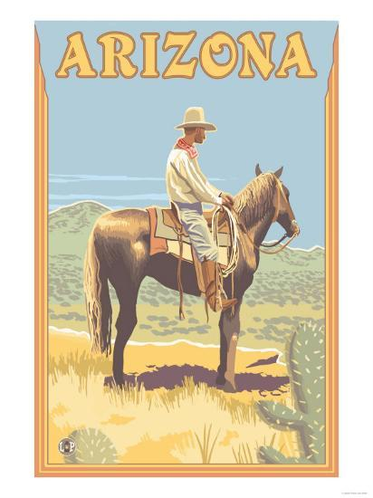 Cowboy - Arizona-Lantern Press-Art Print