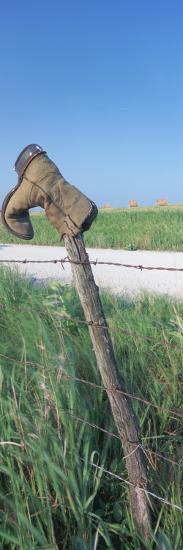 Cowboy Boot on a Fence, Pottawatomie County, Kansas, USA--Photographic Print