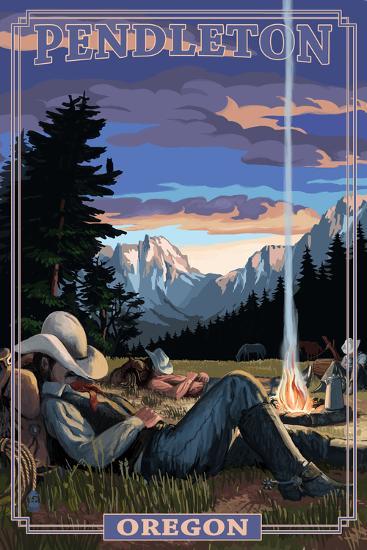 Cowboy Camping Night Scene - Pendleton, Oregon-Lantern Press-Art Print
