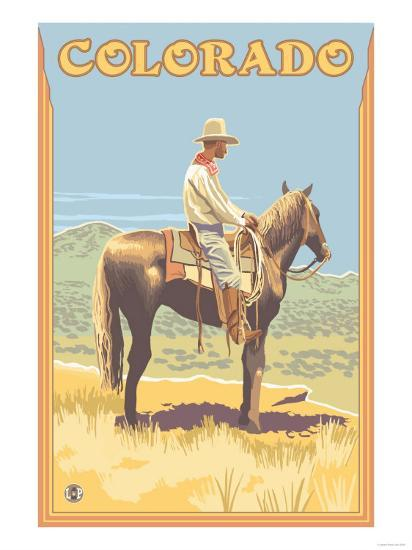 Cowboy - Colorado-Lantern Press-Art Print