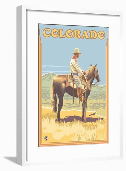 Cowboy - Colorado-Lantern Press-Framed Art Print
