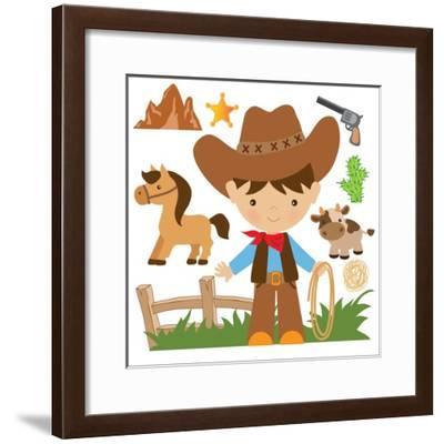 Cowboy,Cute,Boy,Cartoon,Vector,Illustration-Svetlana Peskin-Framed Art Print