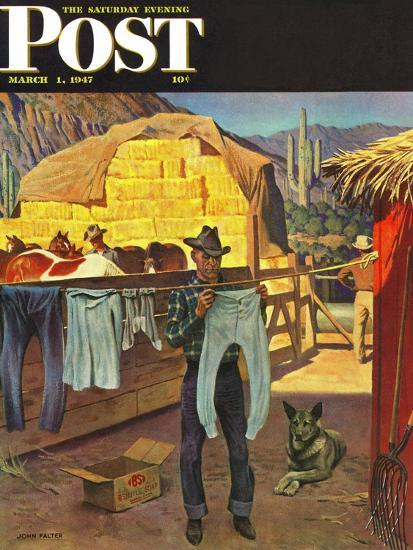 """""""Cowboy Hanging Out His Laundry,"""" Saturday Evening Post Cover, March 1, 1947-John Falter-Premium Giclee Print"""