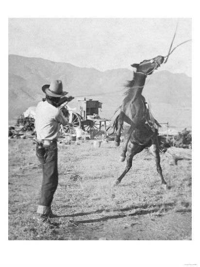 Cowboy Holds Rope around Struggling Bronco's Neck Photograph - Texas-Lantern Press-Art Print