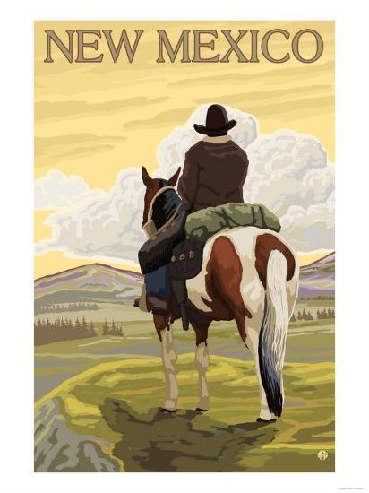 Cowboy - New Mexico-Lantern Press-Art Print