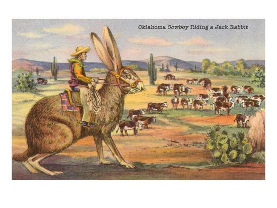 Cowboy On Giant Jack Rabbit