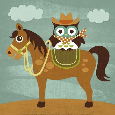 Cowboy Owl on Horse-Nancy Lee-Art Print