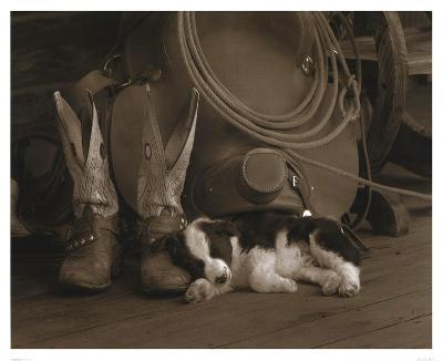 Cowboy Puppy-Robert Dawson-Art Print