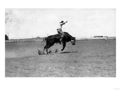Cowboy Riding a Bucking Bull-Lantern Press-Art Print