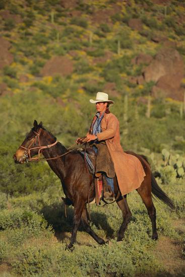 Cowboy Riding a Horse-DLILLC-Photographic Print