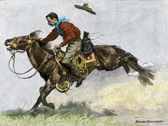 Cowboy Riding a Newly Trained Horse--Giclee Print