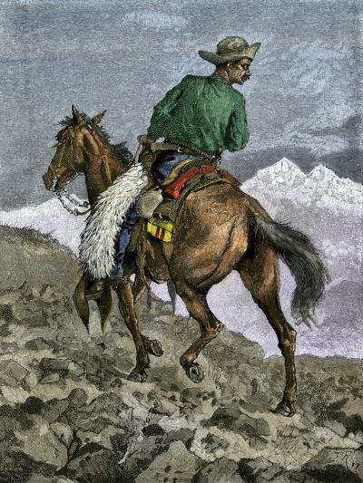 Cowboy Searching for Stray Cattle in the Rocky Mountains--Giclee Print