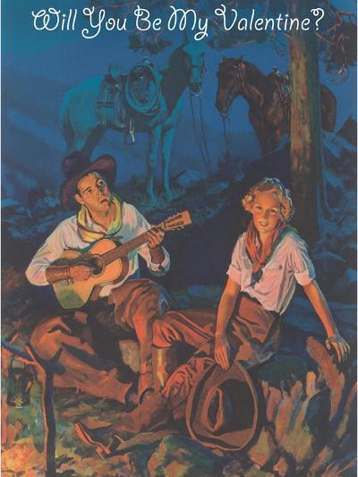 Cowboy Valentine, around the Campfire--Art Print