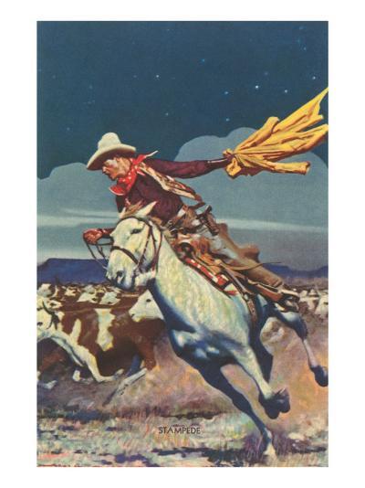 Cowboy with Stampede--Art Print