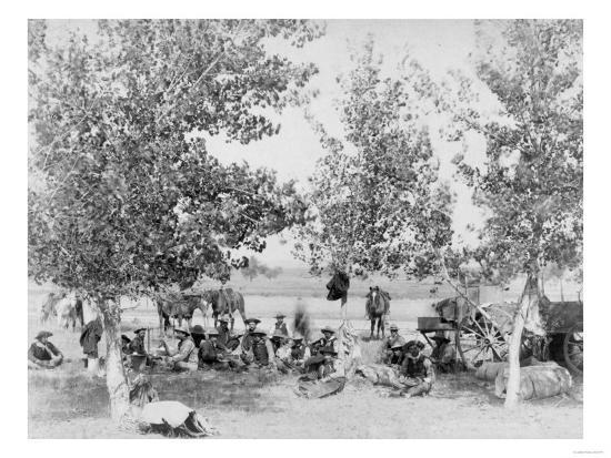 Cowboys Eating Dinner on Ground Under Trees Photograph - South Dakota-Lantern Press-Art Print