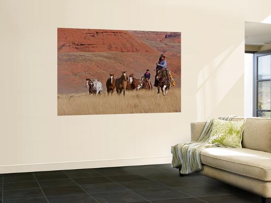 Cowboys Herding Horses in the Big Horn Mountains, Shell, Wyoming, USA Wall  Mural by Joe Restuccia III | Art com