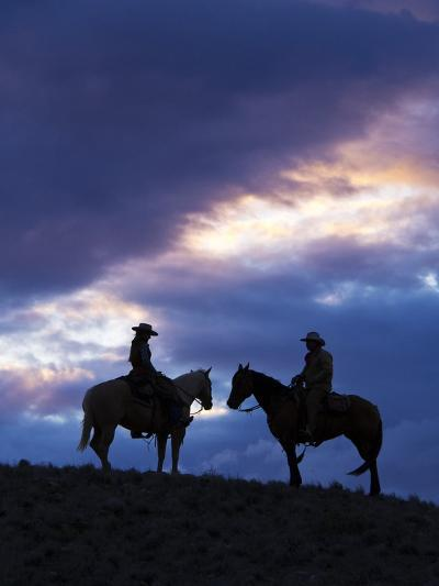 Cowboys in Silouette with Sunset-Terry Eggers-Photographic Print