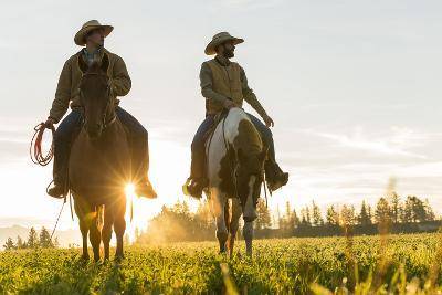 Cowboys Riding across Grassland with Moutains Behind, Early Morning, British Colombia, B.C., Canada-Peter Adams-Photographic Print