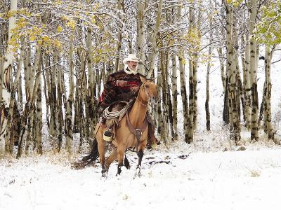 Cowboys Riding in Autumn Aspens with a Fresh Snowfall-Terry Eggers-Photographic Print