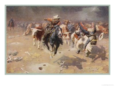 Cowboys Trying to Check a Cattle Stampede-W.r. Leigh-Giclee Print