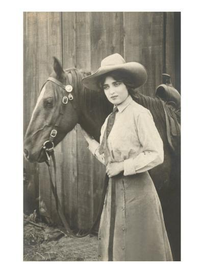 Cowgirl and Horse--Art Print