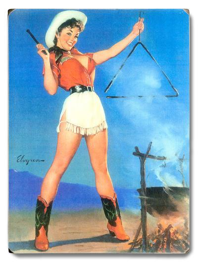 Cowgirl Barbeque Pin Up Girl--Wood Sign
