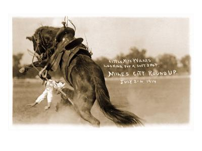 Cowgirl Falling from Bronco--Art Print