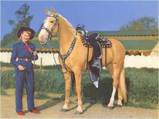 Cowgirl in Blue with Palomino--Art Print