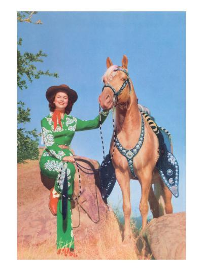 Cowgirl in Green Outfit with Palomino--Art Print
