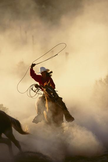Cowgirl Lassoing on the Range-DLILLC-Photographic Print