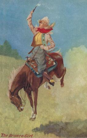 Cowgirl on Bucking Horse Painting