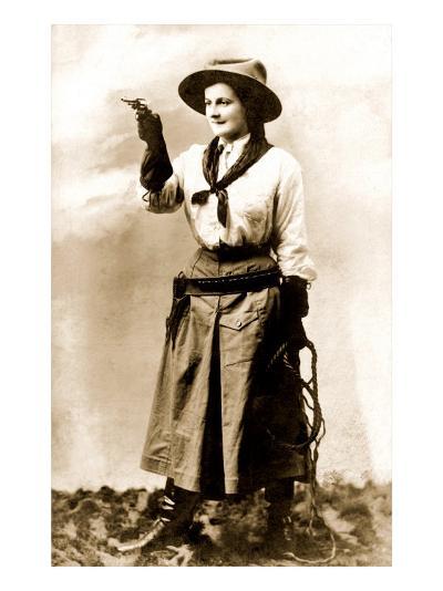 Cowgirl Pointing Gun--Art Print