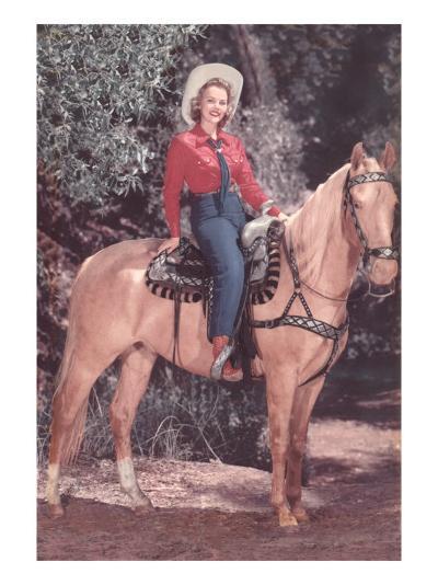 Cowgirl Riding Palomino--Art Print
