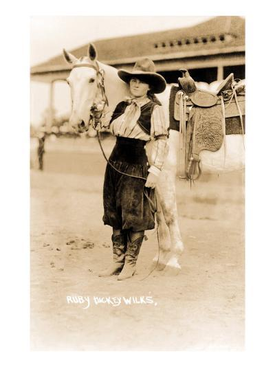 Cowgirl with Horse--Art Print