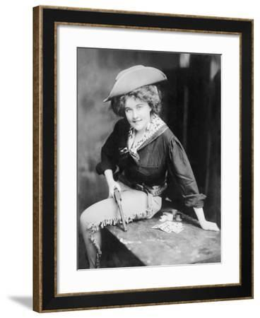 Cowgirl with Pistol and Poker Hand--Framed Art Print