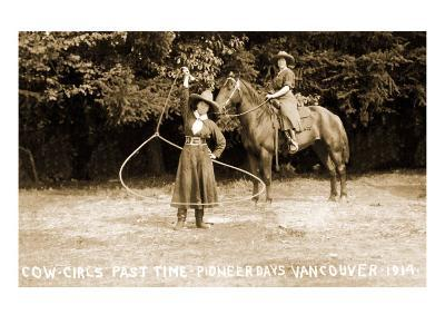 Cowgirls Roping--Art Print