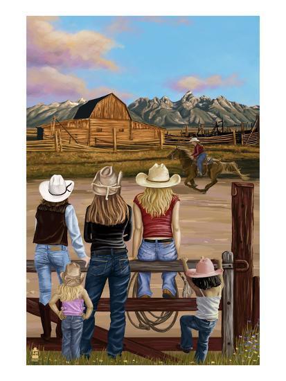Cowgirls Scene-Lantern Press-Art Print