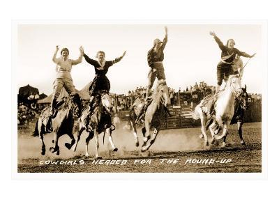 Cowgirls Standing on Horses--Art Print