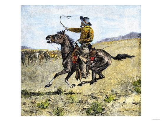 Cowhand Rounding Up Cattle Mixed in with the Horse Herd--Giclee Print