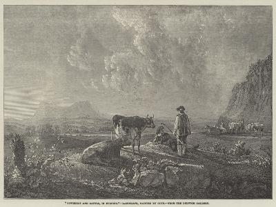 Cowherds and Cattle, in Evening--Giclee Print
