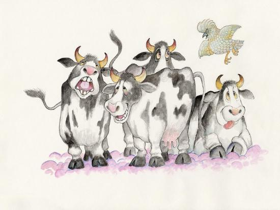 Cows and Duck-Bill Bell-Giclee Print