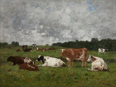 Cows at the Pasture-Eug?ne Boudin-Giclee Print