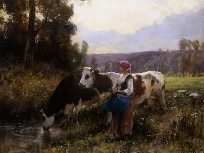 Cows at the Watering Hole-Julien Dupre-Giclee Print