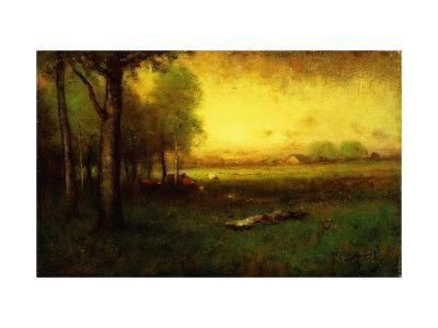 Cows Grazing at Sunset-Inness, Sr. George-Giclee Print