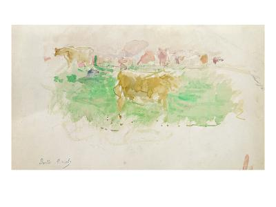 Cows in Normandy, 1880 (W/C on Paper)-Berthe Morisot-Giclee Print